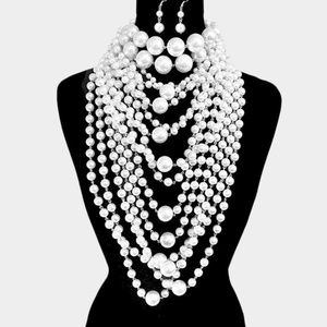 White Pearl and Silver Layered Necklace Choker Set